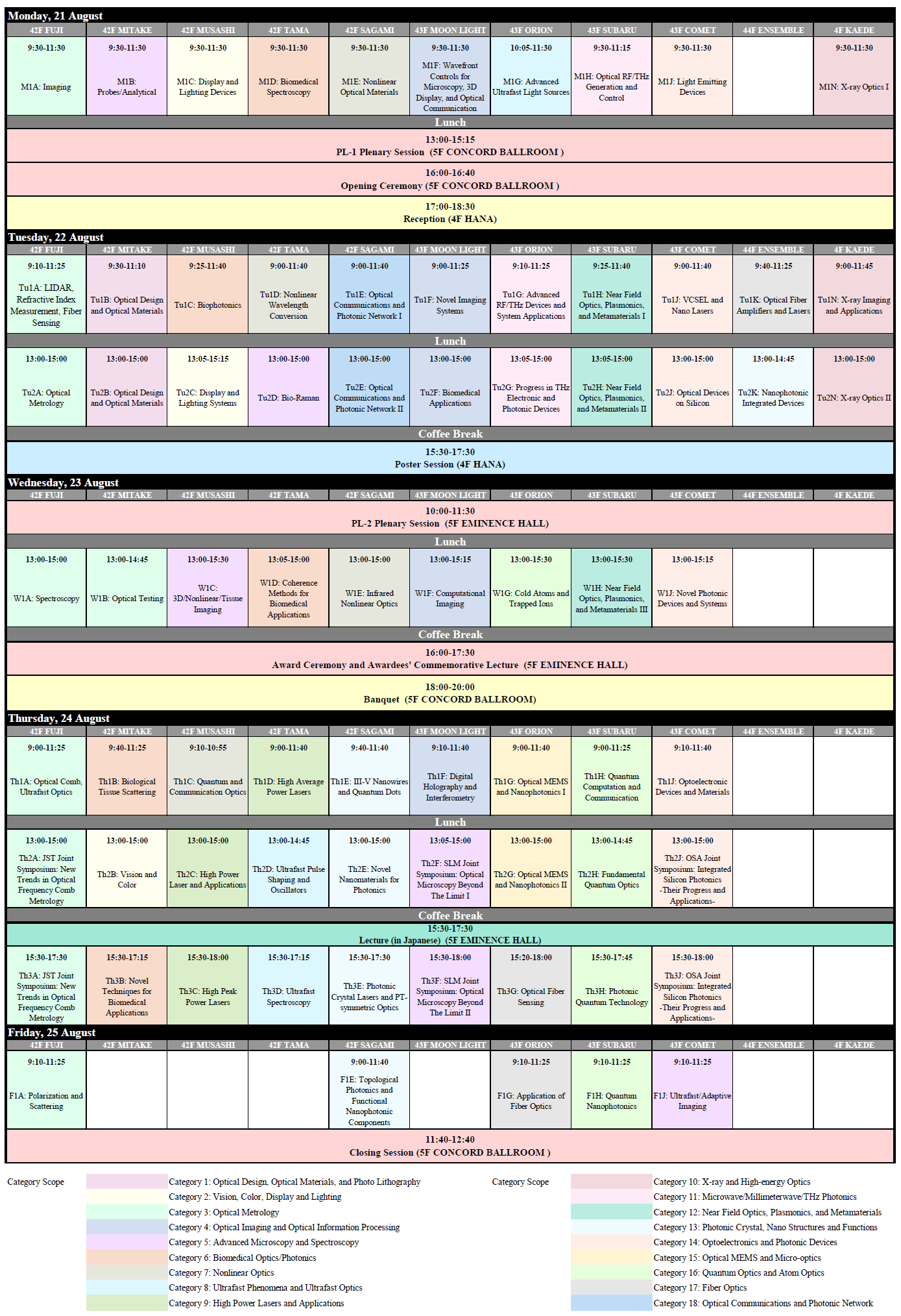 Program Time Table